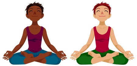 yogi aura: Happy girl in yoga lotus position in cartoon style.