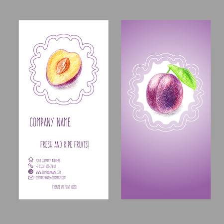Business card with plum drawn with color pencils. Elegant fruit design for invitation, flyer, leaflet or label.