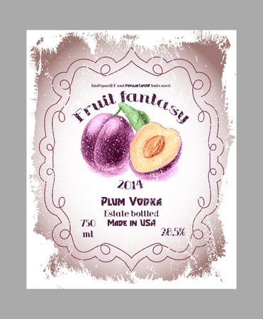 vodka: Vintage fruit alcohol labels. Template plum vodka, liquor or wine labels. Fully editable EPS8 vector. Illustration