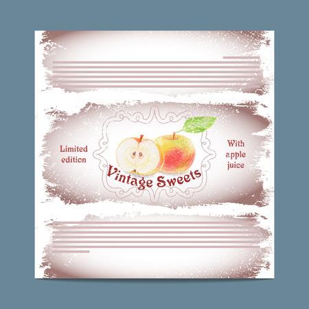 lozenge: Vintage template candy packaging. Apple sweets. Stencil for print of pack sugar lozenge.
