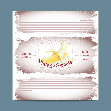 lozenge: Vintage template candy packaging. Banana sweets. Stencil for print of pack sugar lozenge.