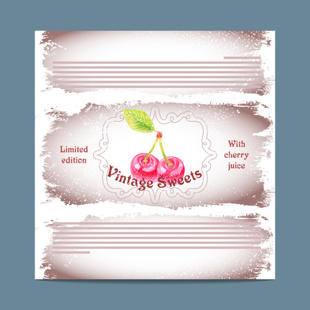 lozenge: Vintage template candy packaging. Cherry sweets. Stencil for print of pack sugar lozenge.