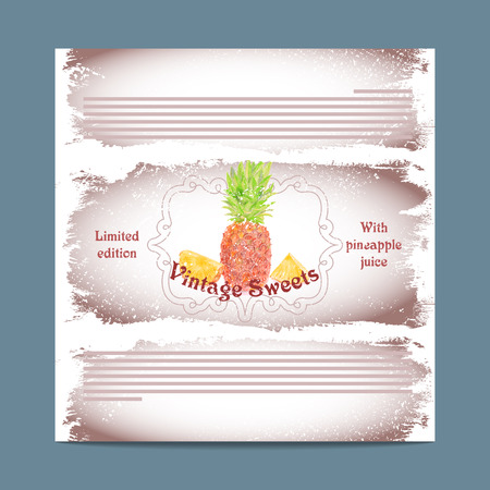 lozenge: Vintage template candy packaging. Pineapple sweets. Stencil for print of pack sugar lozenge.