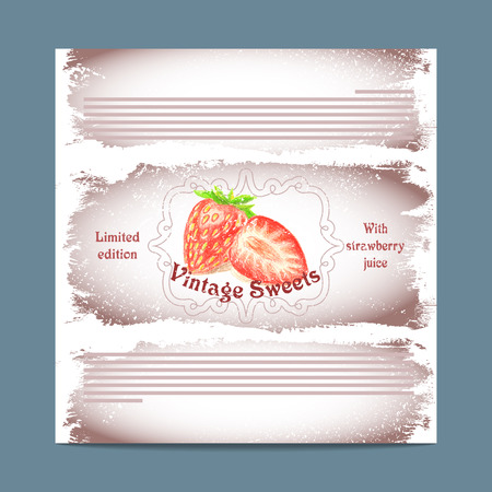 lozenge: Vintage template candy packaging. Strawberry sweets. Stencil for print of pack sugar lozenge. Illustration