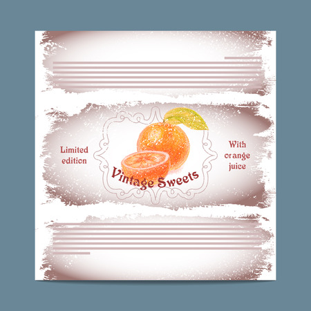 lozenge: Vintage template candy packaging. Orange sweets. Stencil for print of pack sugar lozenge.