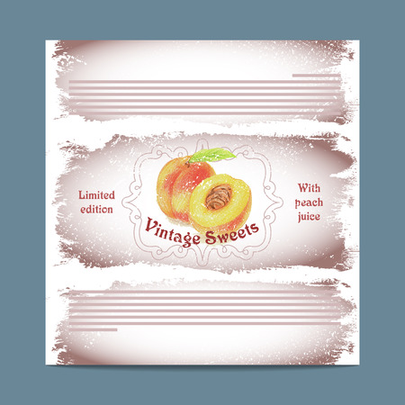 lozenge: Vintage template candy packaging. Peach sweets. Stencil for print of pack sugar lozenge.