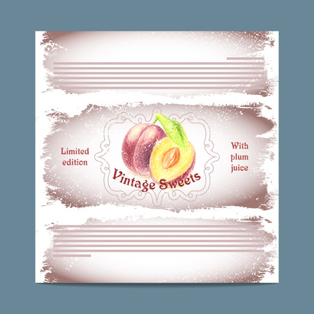 lozenge: Vintage template candy packaging. Plum sweets. Stencil for print of pack sugar lozenge.