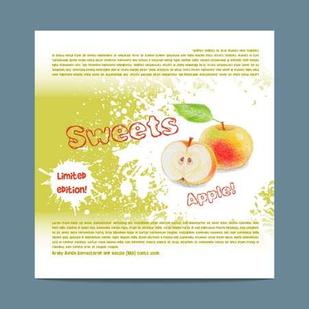 lozenge: Template candy packaging. Apple sweets. Stencil for print of pack sugar lozenge. Illustration