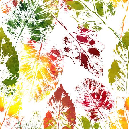 imprints: Seamless botanic pattern. Autumn colorful leaves imprints.