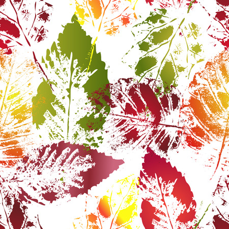 botanic: Seamless botanic pattern. Autumn colorful leaves imprints.