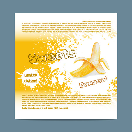 lozenge: Template candy packaging. Banana sweets. Stencil for print of pack sugar lozenge.