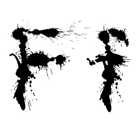 Graffiti Splatter inkblot letter. Black grungy messy character.