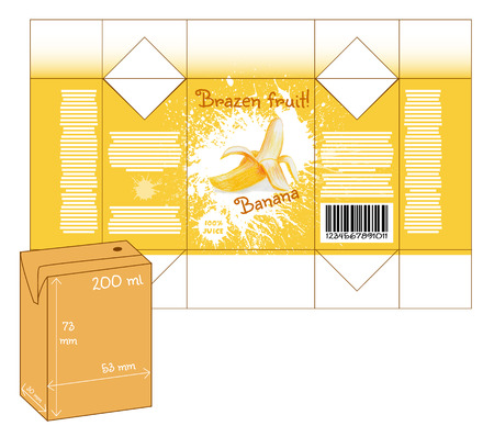 milk shake: Design of small juice or milk shake box. Fruit drawn by color pencils - banana. Die-stamping. Vector template