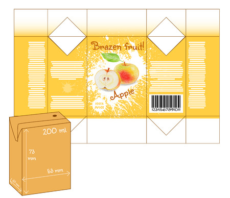 milk shake: Design of small juice or milk shake box. Fruit drawn by color pencils - apple. Die-stamping. Vector template