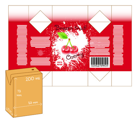 milk shake: Design of small juice or milk shake box. Fruit drawn by color pencils - cherry. Die-stamping. Vector template