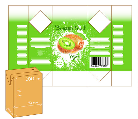 Design of small juice or milk shake box. Fruit drawn by color pencils - kiwi. Die-stamping. Vector template