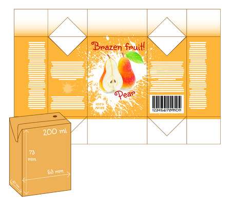 milk shake: Design of small juice or milk shake box. Fruit drawn by color pencils - pear. Die-stamping. Vector template Illustration