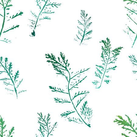 botanics: Seamless imprints pattern of the branched herbs. Grungy botanics stamp.