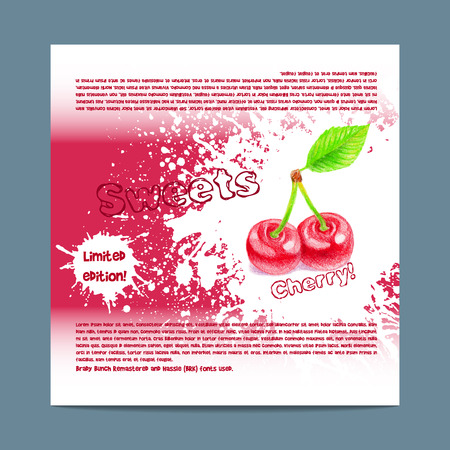 lozenge: Template candy packaging. Cherry sweets. Stencil for print of pack sugar lozenge.