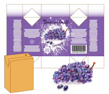 milk shake: Design of small juice or milk shake box. Fruit drawn by color pencils - grape. Die-stamping. Vector template