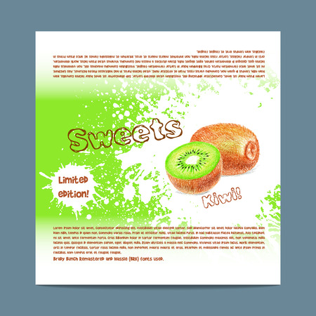 lozenge: Template candy packaging. Kiwi sweets. Stencil for print of pack sugar lozenge.