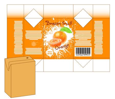 milk shake: Design of small juice or milk shake box. Fruit drawn by color pencils - orange. Die-stamping. Vector template