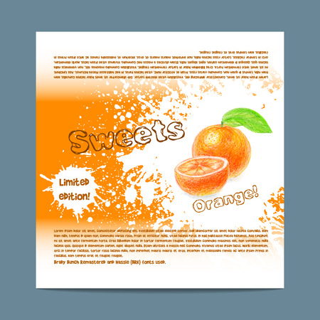 lozenge: Template candy packaging. Orange sweets.  Stencil for print of pack sugar lozenge. Illustration
