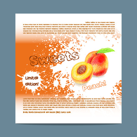 lozenge: Template candy packaging. Peach sweets.  Stencil for print of pack sugar lozenge. Illustration