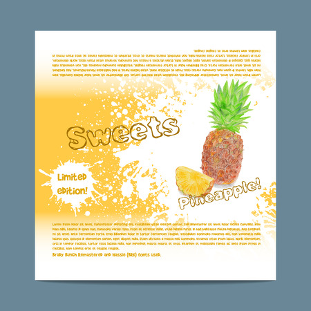 lozenge: Template candy packaging. Pineapple sweets. Stencil for print of pack sugar lozenge. Illustration
