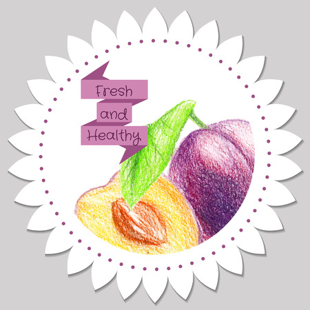 Sticker template. Healthy and fresh plum. Stencil for print label.