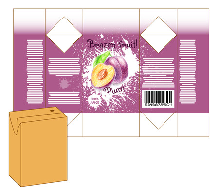 milk shake: Design of small juice or milk shake box. Fruit drawn by color pencils - plum. Die-stamping. Vector template Illustration