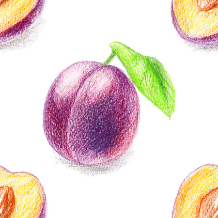 color pencils: Seamless pattern with vegeterian theme. Color pencils illustration - sweet plum. Sliced fruit with seeds.