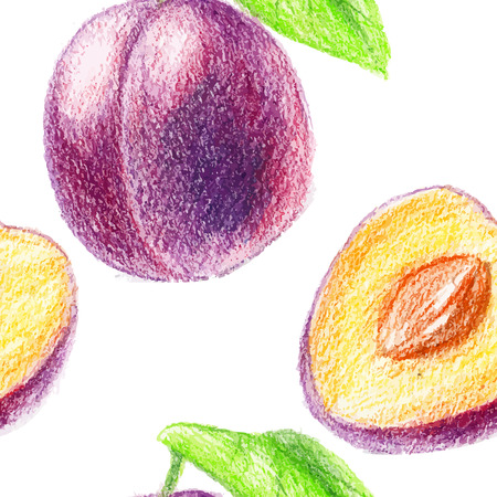 sliced fruit: Seamless pattern with vegeterian theme. Color pencils illustration - sweet plum. Sliced fruit with seeds.