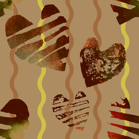 Seamless pattern with grunge watercolor hearts. Hearts and ornaments romantic background.
