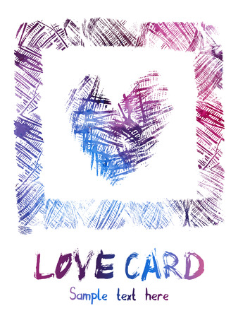 coil: Watercolor card - square frame with texture heart inside. Vector clip-art. Stamp of yarn coil. Thread imprint texture.