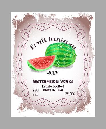 bourbon whisky: Vintage fruit alcohol label. Template watermelon vodka, liquor or wine label. Fully editable EPS vector