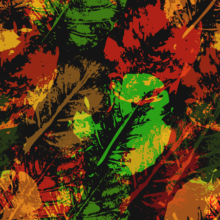 botanics: Seamless imprints pattern of the leafs. Grungy botanics stamp.