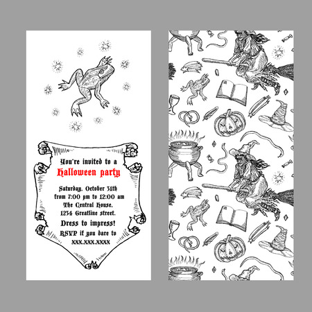 Medieval engraving style Halloween invitation. Ink line illustration with animals, objects and characters for Halloween.