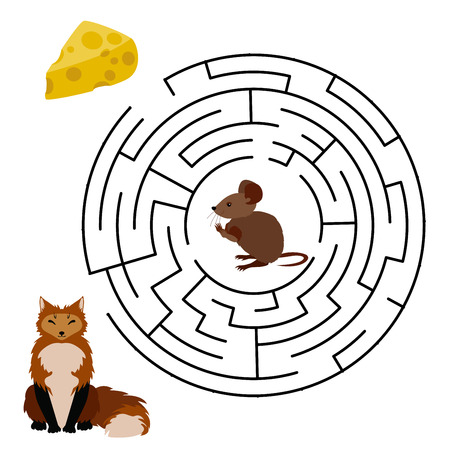 pawl: Vector Maze, Labyrinth education Game for Children with Mouse, Cheese and Fox.