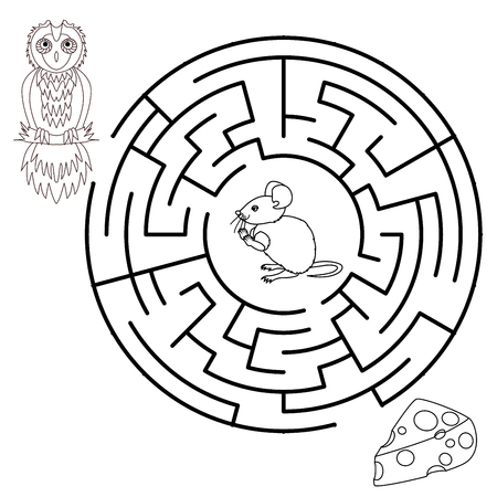pathfinder: Vector Maze, Labyrinth education Game for Children with Mouse, Cheese and Fox.