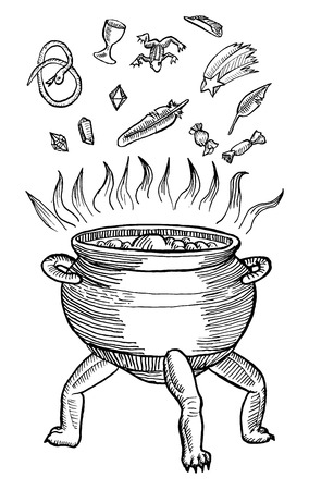 scratchboard: Medieval engraving style. Ink line illustration for Halloween. The Medieval cauldron of boiling potion.