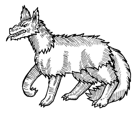 archaically: Medieval engraving style. Ink line illustration for Haloween. Evil and angry wolf.