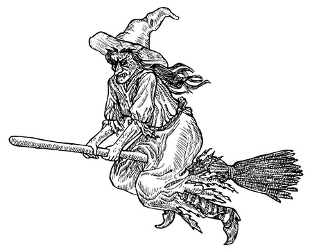 Medieval engraving style. Ink line illustration for Halloween. Witch flying in a groom.