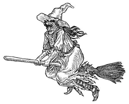 wiedźma: Medieval stylu grawerowanie. ilustracja linia Tusz do Halloween. Witch latania w pary.