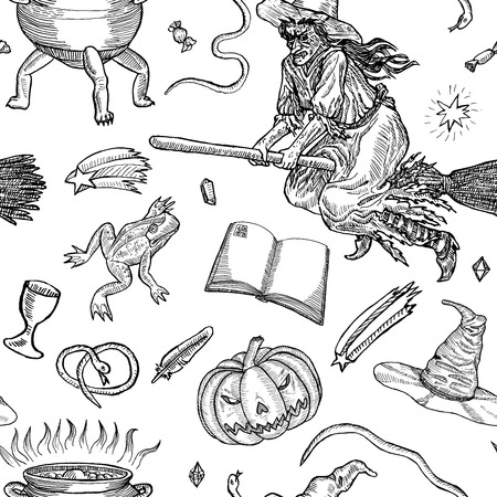 scratchboard: Seamless pattern with different halloween characters, animals and objects. Medieval engraving style. Ink line illustration for Halloween.
