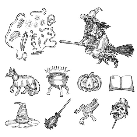 scratchboard: Medieval engraving style. Ink line illustration for Halloween. Set of different halloween characters, animals and objects.