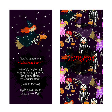 costume party: Cute invitation for kids Halloween party. Illustration of fairy, witch, death and pirat in cartoon style. Costume party invitation. Vector.