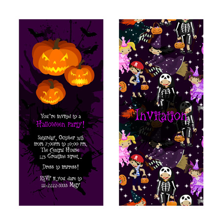 Invitation for kids Halloween party. Illustration of Jack Lantern, fairy, witch, death and pirate in cartoon style. Costume party invitation. Vector.