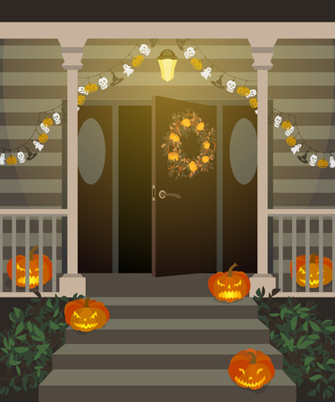 Halloween decorated front door and porch with pumpkins and wreath. Vector illustration. Illustration