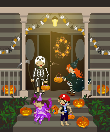 front porch: Costumed kids dressed up for trick or treat, stand at the stairs. Halloween decorated front door and porch with pumpkins and wreath. Vector illustration.